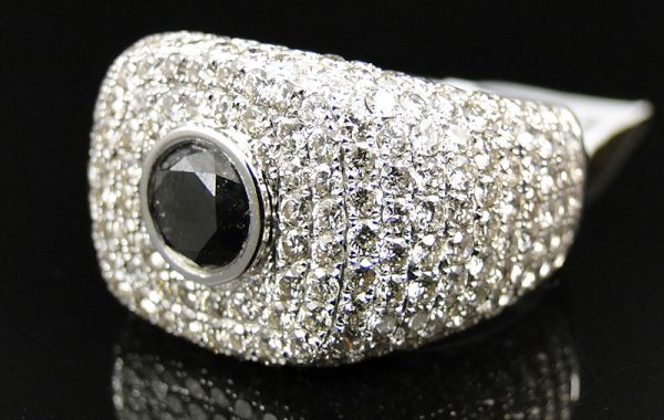 Mens Black Diamond Solitaire Pavement Ring
